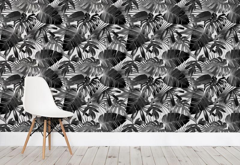 Pencil Drawn Leaves Wallpaper Mural