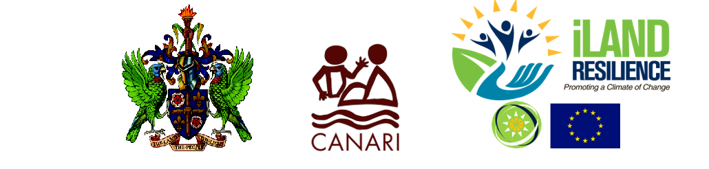 Coat of arms of the Ministry of St. Lucia, logo of Canari, logo of iLand Resilience