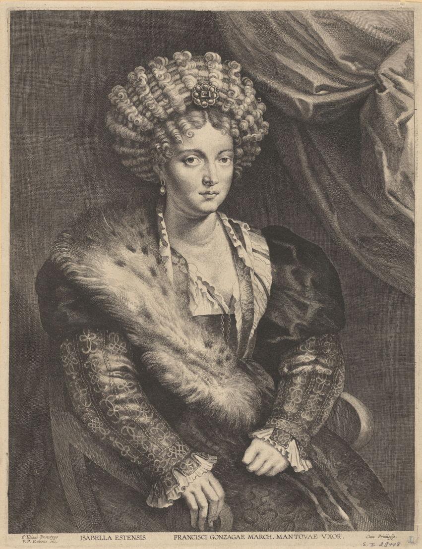 Lucas Vorsterman naar Peter Paul Rubens, <br/>Portret van Isabella d'Este, gravure, KBR