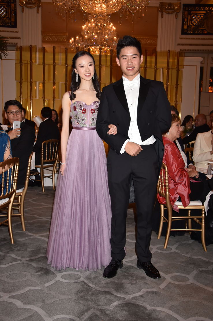 Yu Hang (in Alexander McQueen and jewelry by Payal New York) with her cavalier Sifan Liu, Photo by Jean Luce Huré
