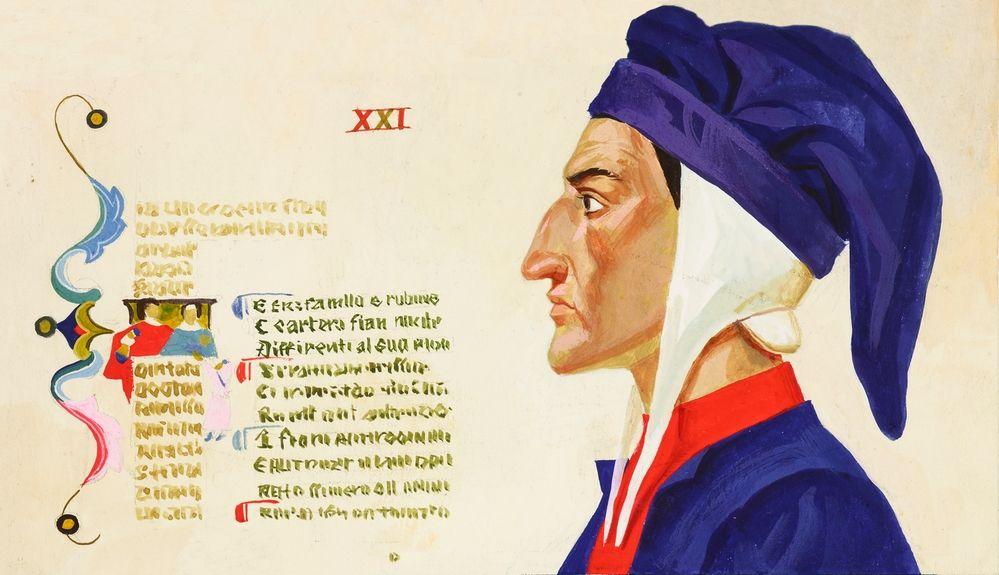 AKG8555818 Portrait de profil de Dante (c) New Picture Library / akg-images
