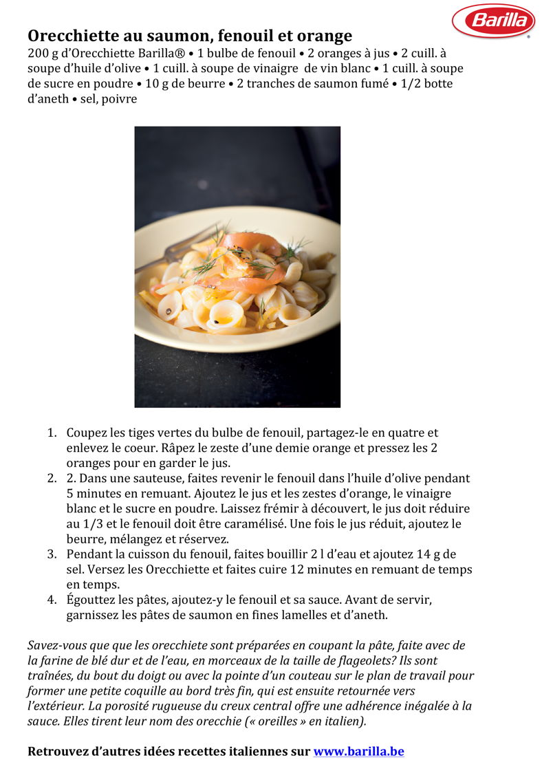 Recette Orecchiette au saumon, fenouil et orange