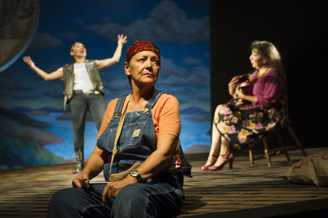 "Reneltta Arluk (as Emily Dictionary), Tantoo Cardinal (as Pelajia Patchnose) and Tracey Nepinak (as Philomena Moosetail) in The Rez Sisters by Tomson Highway / Photos by David Cooper / <a href=""http://www.belfry.bc.ca/the-rez-sisters/"" rel=""nofollow"">www.belfry.bc.ca/the-rez-sisters/</a>"