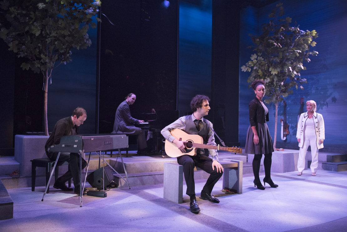 Anton Lipovetsky, Brent Jarvis, Jonathan Gould,  Evangelia Kambites, and Linda Kidder in I Think I'm Fallin' - The Songs of Joni Mitchell created by Michael Shamata and Tobin Stokes / Photos by David Cooper