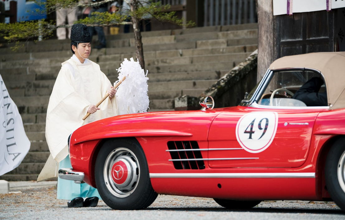 Car model: 1962 Mercedes Benz 300SL Roadster<br/>Location: Blessing Ceremony at Suwa-Taisha Shrine