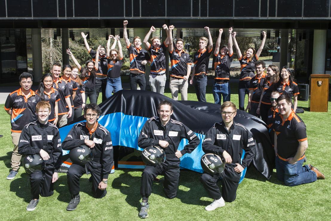 ANU Sol Invictus team with the MTAA Super Charge solar car. Image: Stuart Hay, ANU.