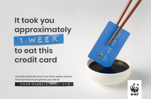De mens krijgt 5 gram plastic per week binnen, wat overeenkomt met het gewicht van een creditcard, volgens een WWF-studie.