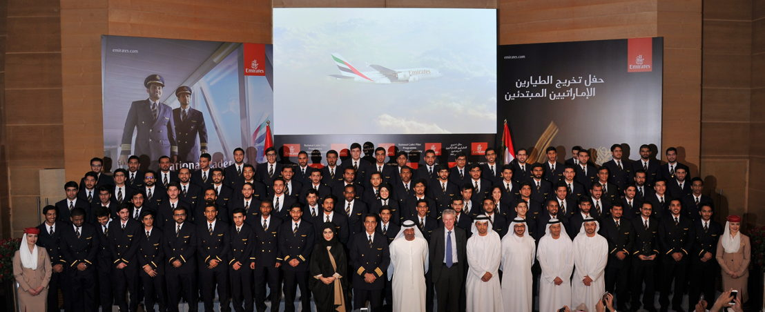 His Highness Sheikh Ahmed Bin Saeed Al Maktoum, Chairman and Chief Executive Emirates Airline and Group and Gary Chapman president Group Services and dnata with the 80 Cadet Pilot Graduates.