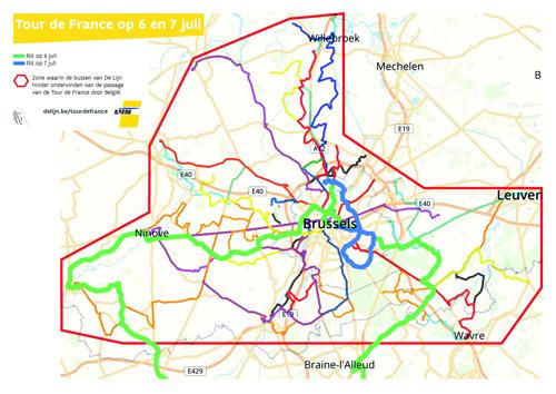 Ronde van Frankrijk wijzigt busaanbod in en rond Brussel en Vlaamse Ardennen