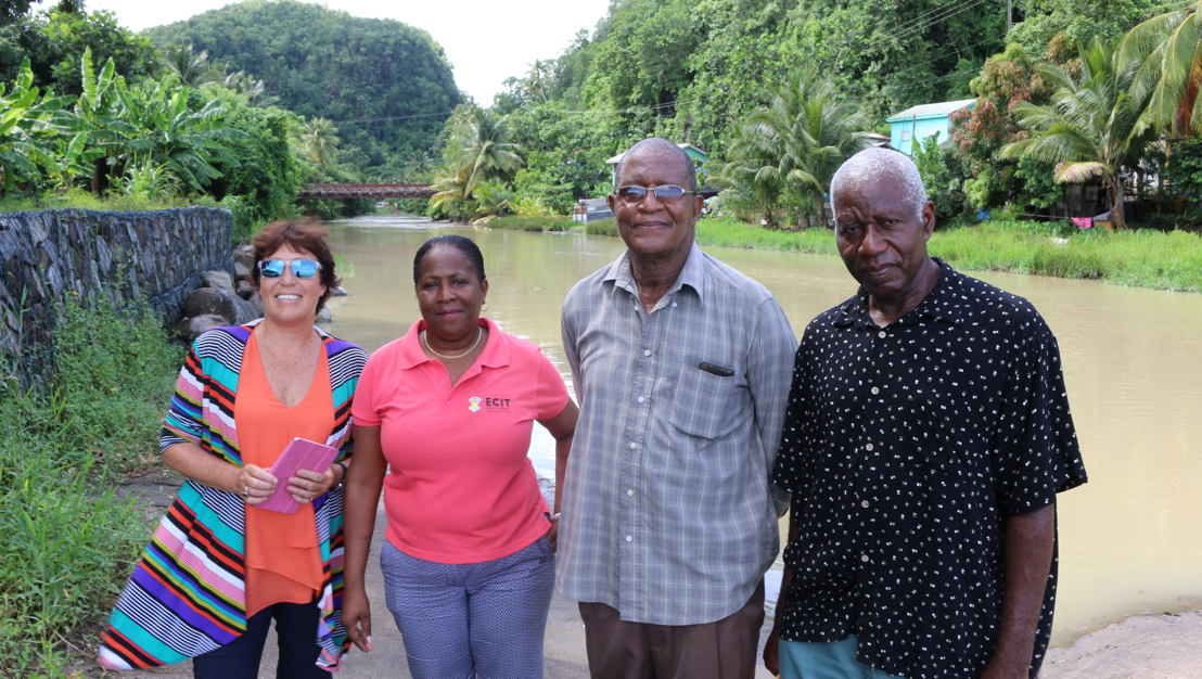 Inspection visit of the stabilisation of the river bank in Anse La Raye in August 2017. From left to right: New Zealand High Commissioner, H. E. Jan Henderson, Programme Officer of the OECS Social & Sustainable Development Division, Mrs. Josette Edward-Charlemagne; Community Member, Mr. Lawrence Reeves; and Chairman of the Anse La Raye Disaster Committee, Mr. Stephen Griffith.