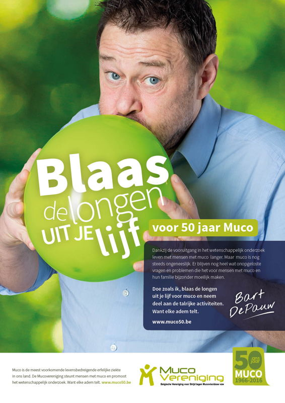 Bart De Pauw blaast de longen uit zijn lijf voor 50 jaar Mucovereniging