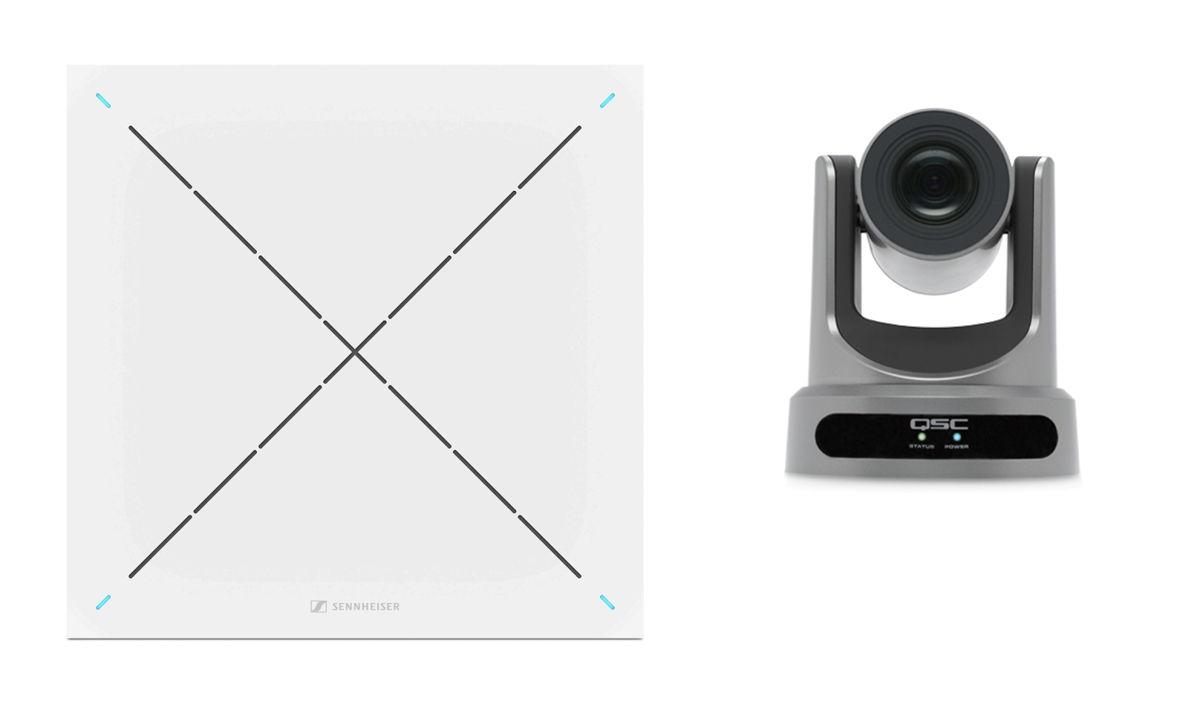Le microphone TeamConnect Ceiling 2 délivre le signal audio qui contrôle l'orientation de la caméra