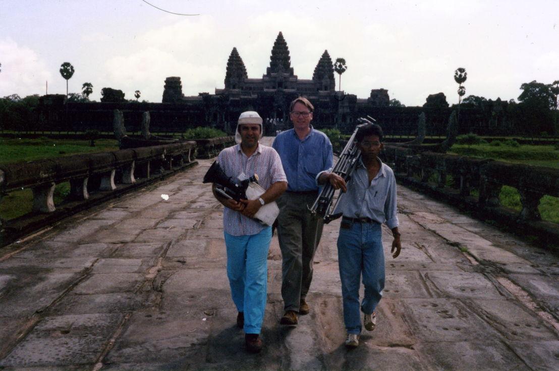 1992 October. Angkor Wat.Brett Joyce, Mark Colvin and Munthit (fixer)
