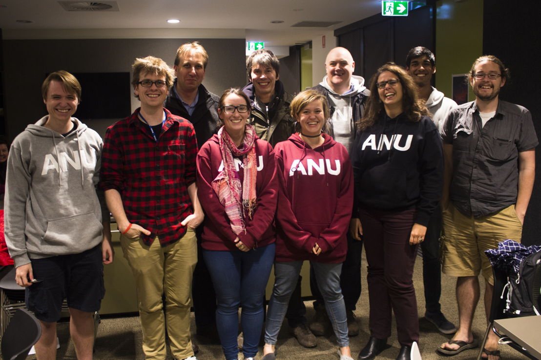 The ANU Planet 9 search team with BBC Stargazing Live hosts Professor Brian Cox and comedian Dara O Briain. Image: ANU.
