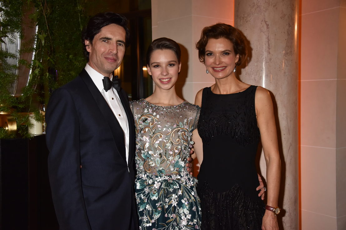 Countess Angélique de Limburg Stirum (in Georges Hobeika and jewelry by Payal New York) with her parents Count Thierry and Countess Katia de Limburg Sitrum, Photo by Jean Luce Huré