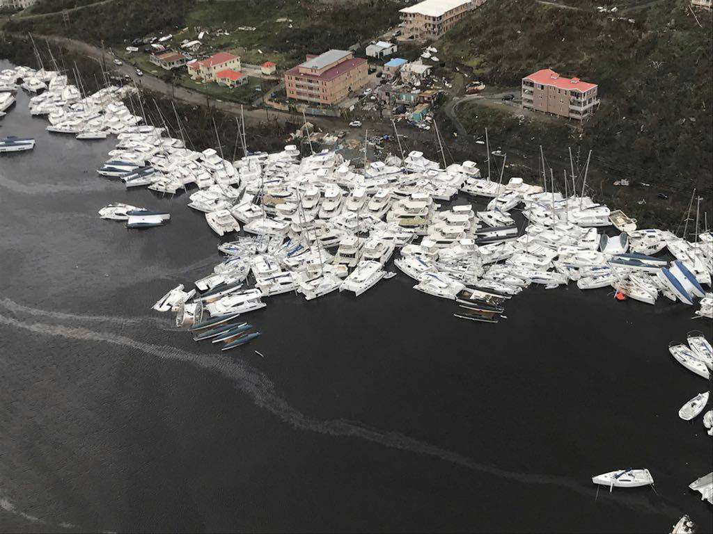 Boats at the port in Barbuda after hurricane Irma