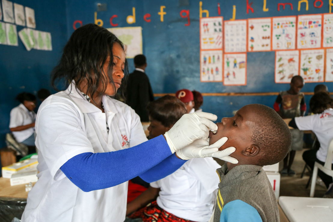 Cholera Vaccination at St Joseph Churh, one of the 15 sites of vaccination in Kanyama districts. Photographer: Laurence Hoenig