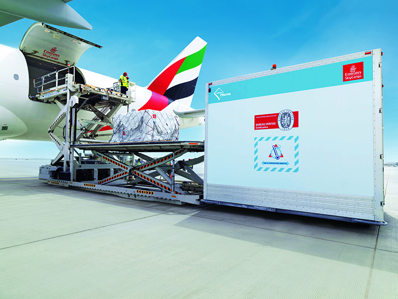 The first 12 stations in Emirates SkyCargo's pharma corridors are spread across three continents and include Amsterdam, Brussels, Bengaluru, Cairo, Dublin, Dusseldorf, Hong Kong, Luxembourg, Milan, Rome, Shanghai and Singapore.