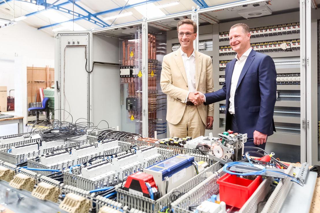 Grégoire Dallemagne, CEO d'EDF Luminus et Christophe Leclercq, Directeur du Groupe NEWELEC