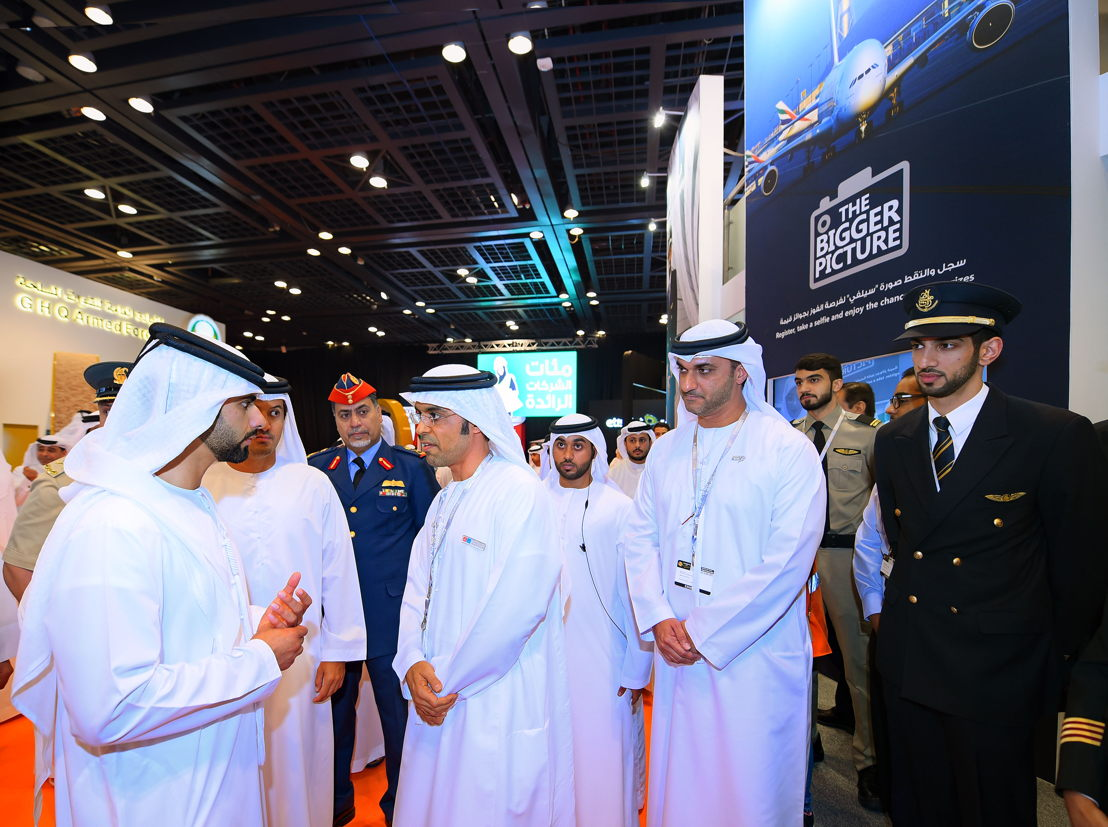 His Highness Sheikh Mansoor Bin Mohammed Bin Rashid Al Maktoum visiting the Emirates Group stand at Careers UAE 2016.