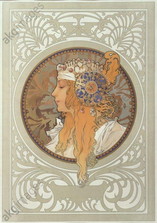 """Tête byzantine: Blonde"" (Byzantine Head: Blonde), 1897. Right image of a pair ""Têtes byzantines: Brunette et Blonde""<br/>AKG1006664"