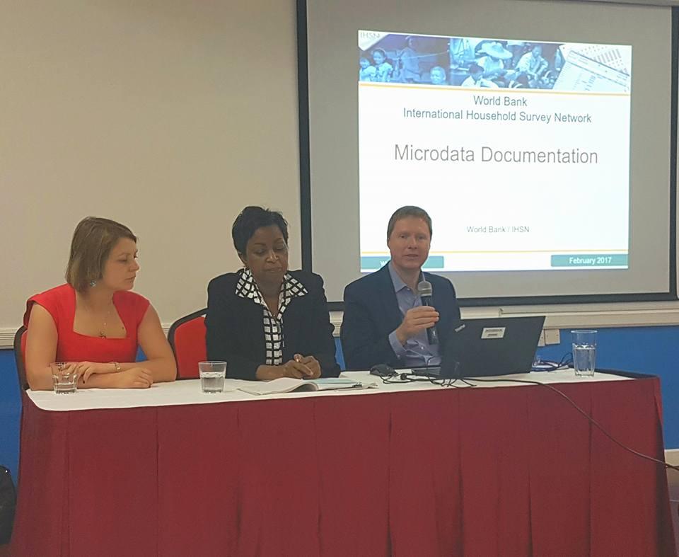 Workshop Head Table (L-R) Yevgeniya Savchenko, World Bank Facilitator; Dr. Gale Archibald, Head of OECS Statistical Services Unit; Matthew Welch, World Bank Facilitator.