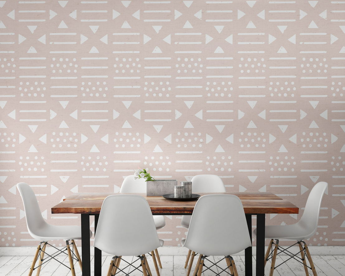 Pink and White Tribal Pattern Wall Mural