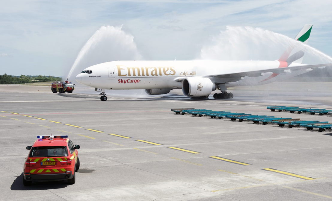Emirates SkyCargo, the world's largest international cargo airline, has operated the first of its scheduled weekly freighter service to Luxembourg on 12 June 2017, where it was welcomed with a traditional water cannon salute on arrival.