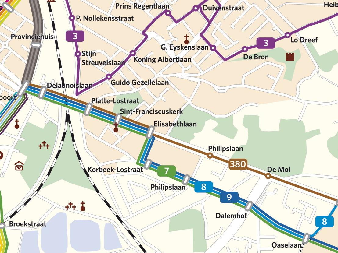 De nieuwe reiswegen van lijnen 7, 8 en 9 in Leuven (Spaanse Kroon).