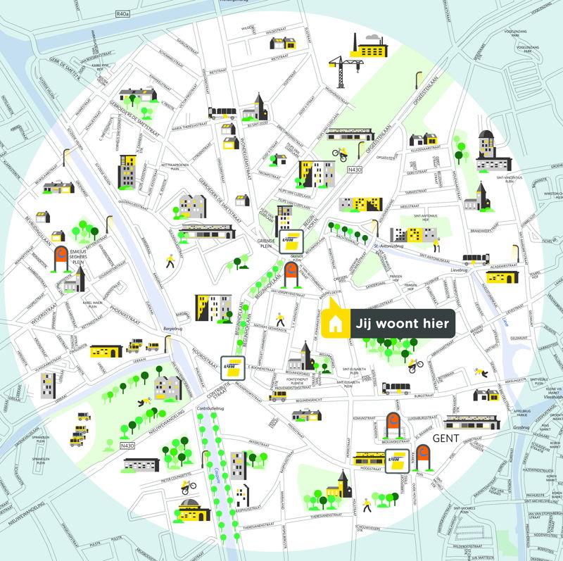 Groene Mobizone Rabot in Gent. Dit kaartje toont alle bus- en tramhaltes van De Lijn en autodeelstations van cambio in deze buurt.