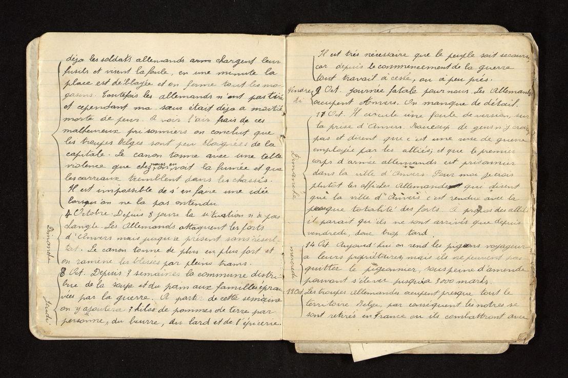 Fragment uit het dagboek van Marie-Catherine Olbrechts.