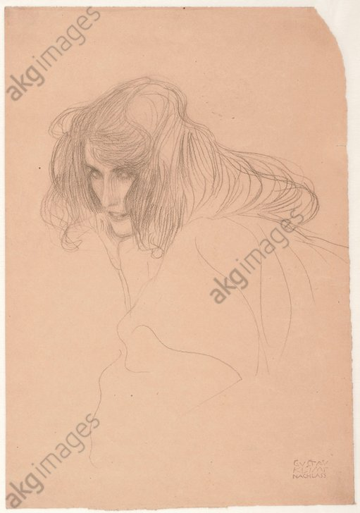 &quot;Female Portrait in the Three-Quarter Profile&quot;, 1901. (Study for the &quot;Unchastity&quot; in the Beethoven Frieze).<br/>Black chalk, 45.1 × 31.1 cm.<br/><br/>Vienna, graphic collection Albertina.<br/><br/>AKG1947798