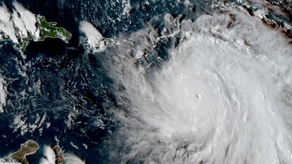 Satellite image of Hurricane Maria in 2017 over Dominica. Image taken on September 18, 2017.