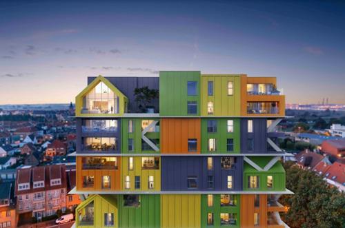 Projet résidentiel HOOST : une superposition de blocs colorés pour un nouveau pôle d'attraction au cœur de Heist