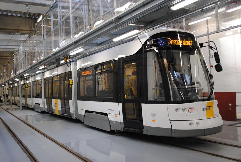 De Flexity 2-tram van De Lijn in de stelplaats Gentbrugge. Foto: De Lijn.