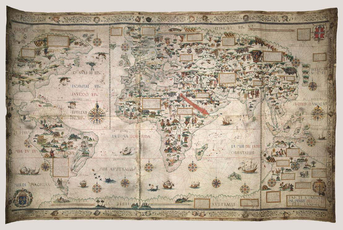 © Pierre Desceliers, Wereldkaart (Mappa Mundi), Dieppe, 1550. Londen, British Library.
