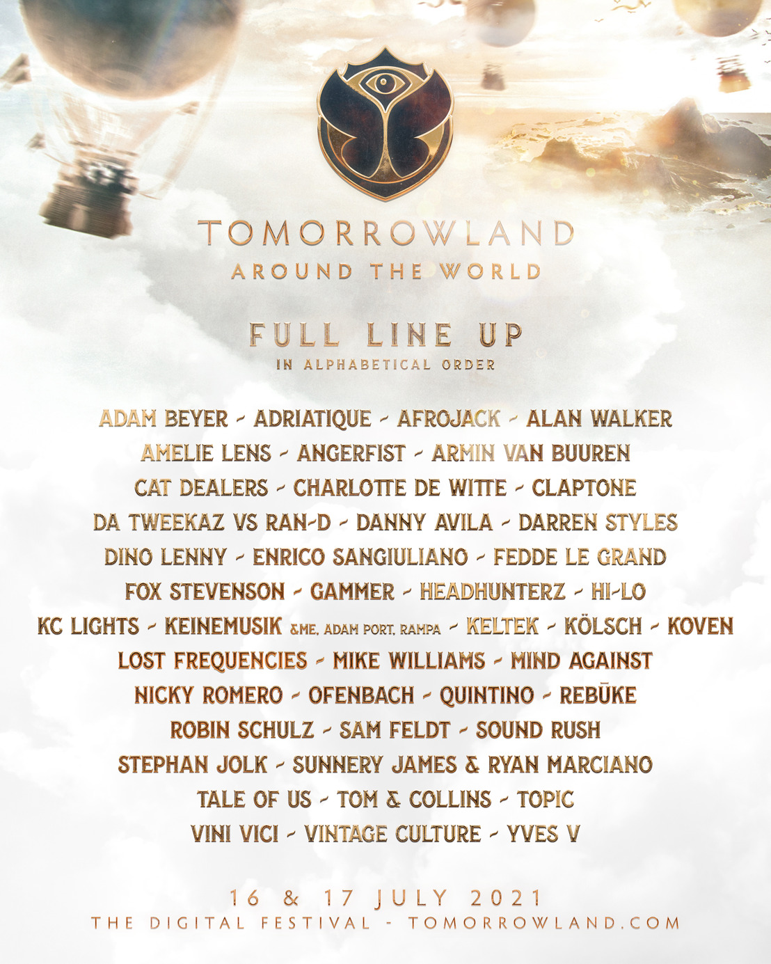 Afrojack, Alan Walker, Amelie Lens, Armin van Buuren, Charlotte de Witte, Kölsch, Lost Frequencies, Tale Of Us and many more join Tomorrowland Around the World 2021