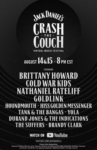 "BRITTANY HOWARD, COLD WAR KIDS AND NATHANIEL RATELIFF ENCABEZARÁN EL FESTIVAL ""CRASH THE COUCH"" DE JACK DANIEL'S"