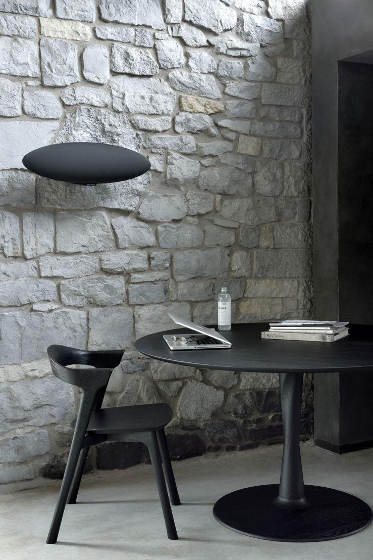 Ethnicraft Oak Torsion table and Oak Bok chair in black