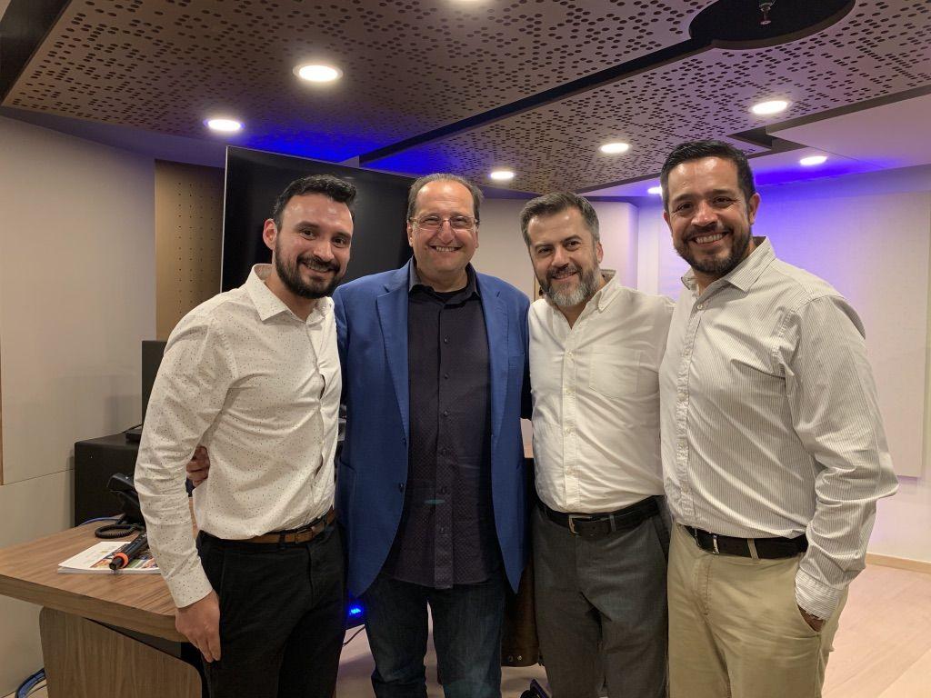 Pictured in new WSDG-designed Hogarth WW recording studio are (l-t-r) Victor Machado, Head of Audio Hogarth Mexico, WSDG Partner, Sergio Molho, Gustavo Ruiz, Operation Director, Hogarth Mexico, and Luis Camacho, Broadcast Lead, Hogarth Mexico