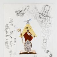 Het monastieke optreden (2017)<br/>Uit de reeks collagetekeningen ter voorbereiding van Jan Fabres permanente installatie in de Sint-Augustinuskerk/AMUZ <br/>Potlood en collagetechniek<br/>60 x 42,2 cm