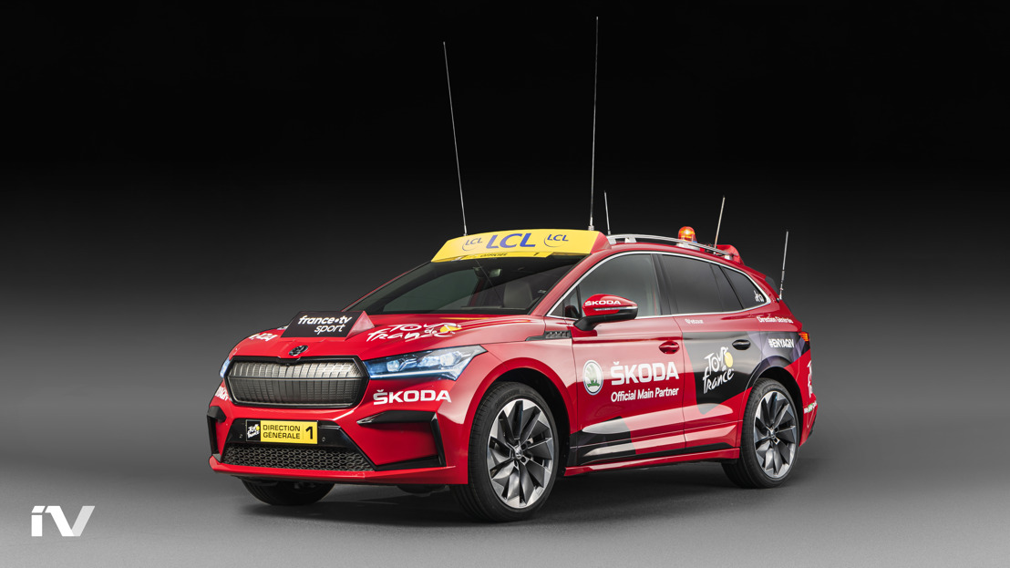 ŠKODA ENYAQ iV makes its debut as the lead vehicle in the Tour de France