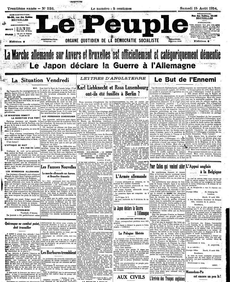 Journal: Le Peuple (Copyright: Bibliothèque royale de Belgique)