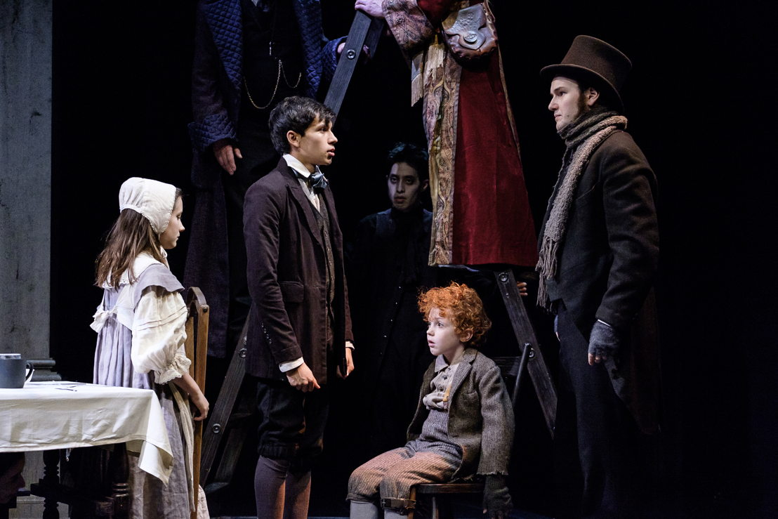 L- R: Abby Baker, Ajay Parikh-Friese, (John Han - in background), Kyle Atlas Stahl and Anton Lipovetsky in A Christmas Carol / Photos by Don Craig