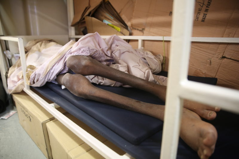 A visibly malnourished man from Somalia who was rescued by the Dignity I in early October rests inside the boat. <br/><br/>The most intense moments for this MSF ship were at the beginning and at the end of the month. October turned out to be the most appalling month of the year, partially because of the deteriorating weather conditions with the onset of winter, bringing gales and big waves. More than 4,200 people have died or gone missing so far in 2016 in the waters of the Mediterranean Sea. This is a record since statistics began to be registered, and there are still two months to go till the end of the year. Photographer: Mohammad Ghannam