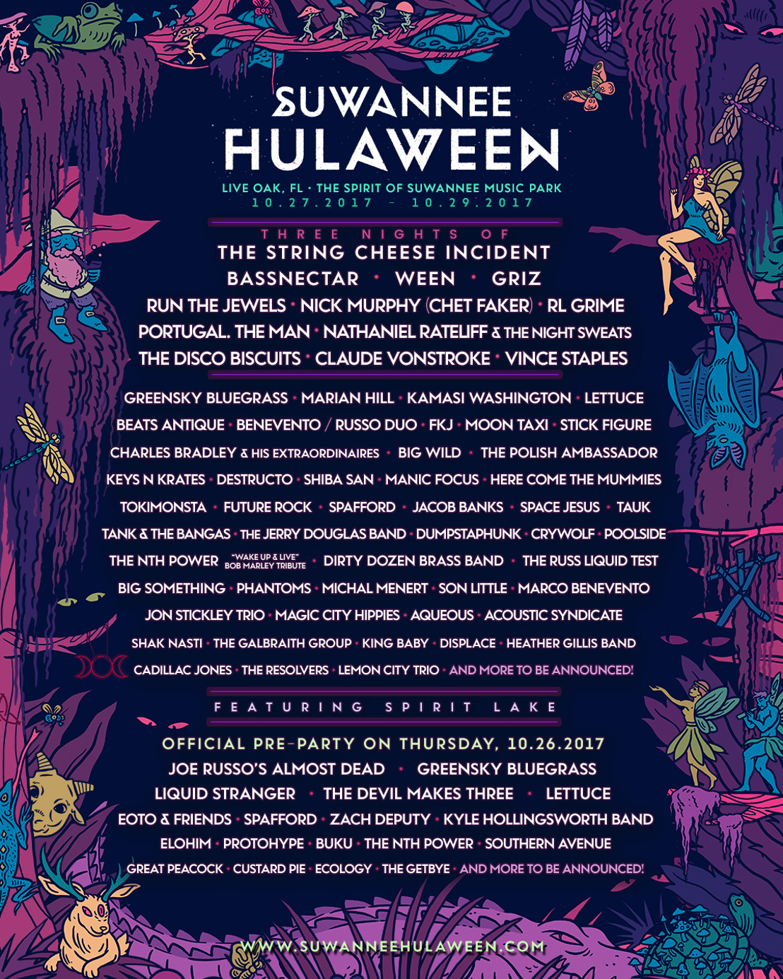Suwannee Hulaween Announces Lineup for October 27-29 2017 Event at The Spirit of the Suwannee Music Park in Live Oak, Florida