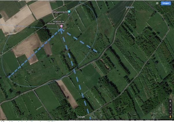 Inplantingsplan van de uitkijktoren in Linter