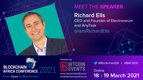 Electroneum CEO Richard Ells prepares for a speech at Blockchain Africa Conference 2021