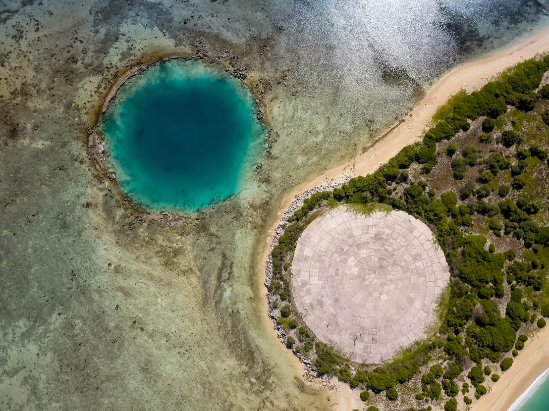 The Dome, Runit Marshall Islands next to another a-bomb crater