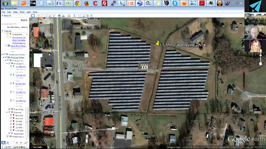 Matthew Thompson talks with students about a solar power generation plant using Nepris.